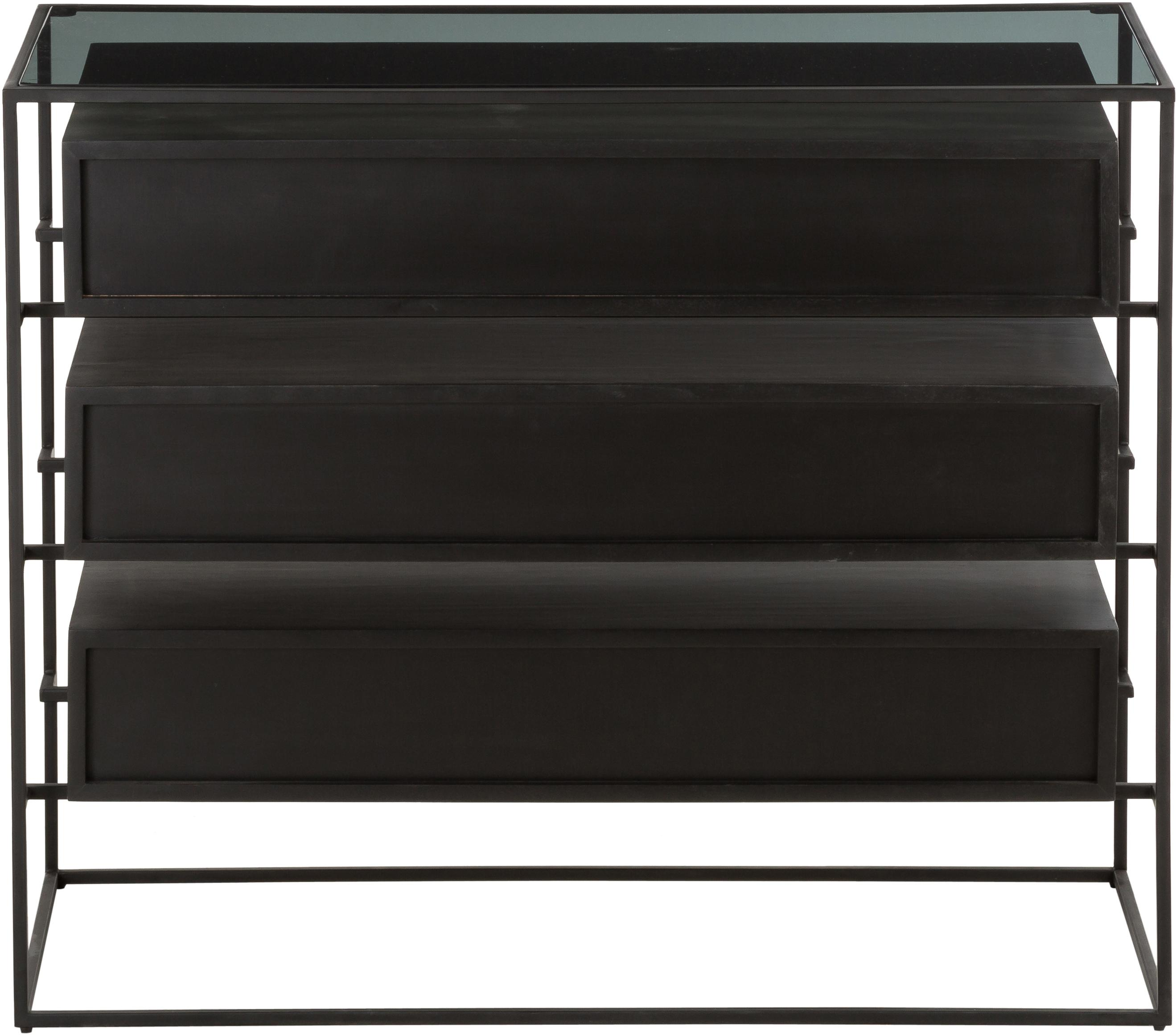 Schubladenkommode Lyle mit Glasplatte, Ablagefläche: Glas, Schubladen: Mangoholz, schwarz lackiertGestell und Griffe: Schwarz, matt, 100 x 82 cm