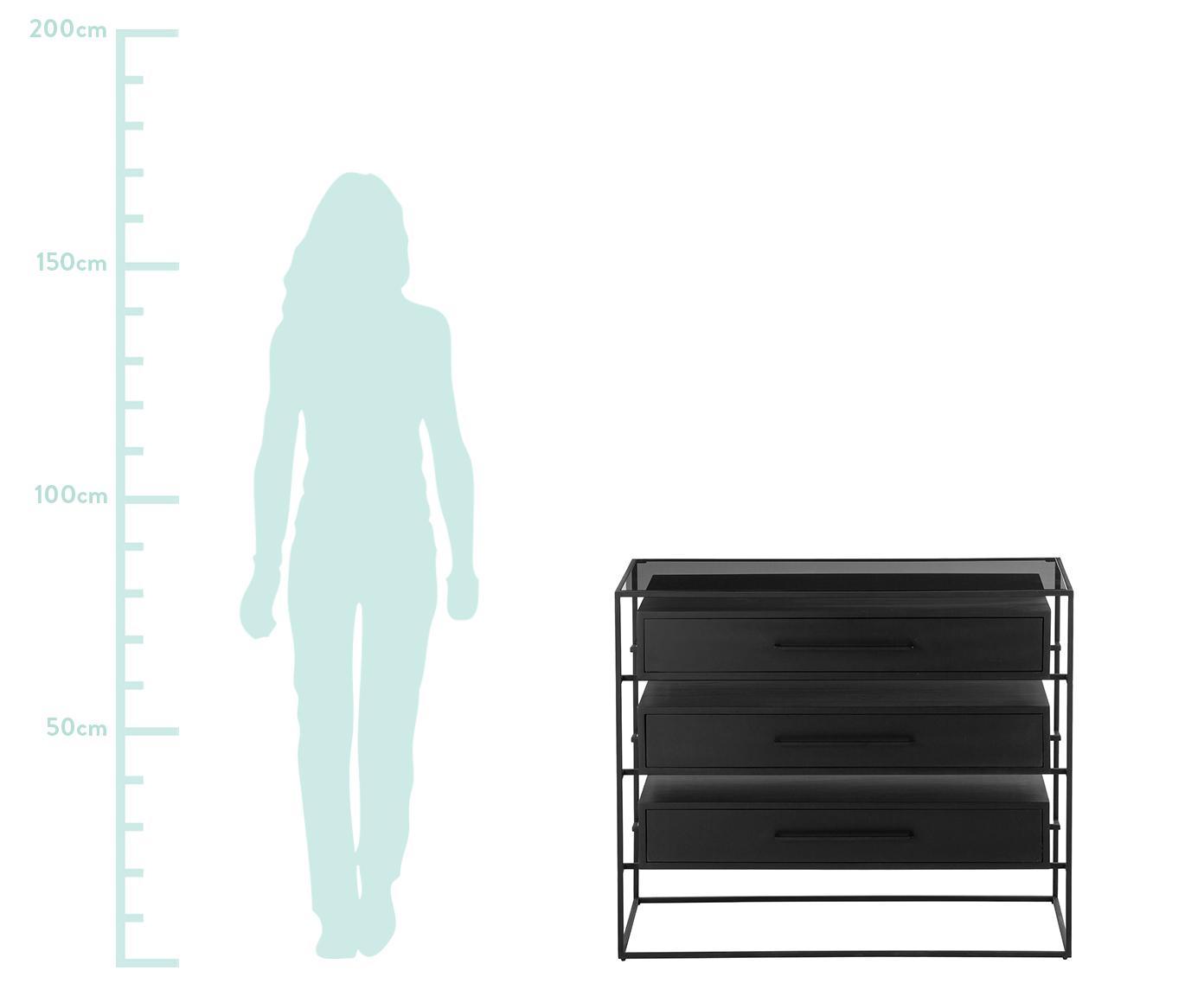 Cómoda cajonera Lyle, con tablero de cristal, Estante: vidrio, Cajones: madera de mango, negro lacado Estructura y tiradores: negro, mate, An 100 x Al 82 cm