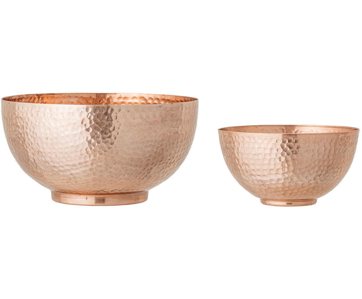 Schalen Cedar in Kupfer mit gehämmerter Oberfläche, 2er-Set, Aluminium, beschichtet, Kupferfarben, Set mit verschiedenen Größen