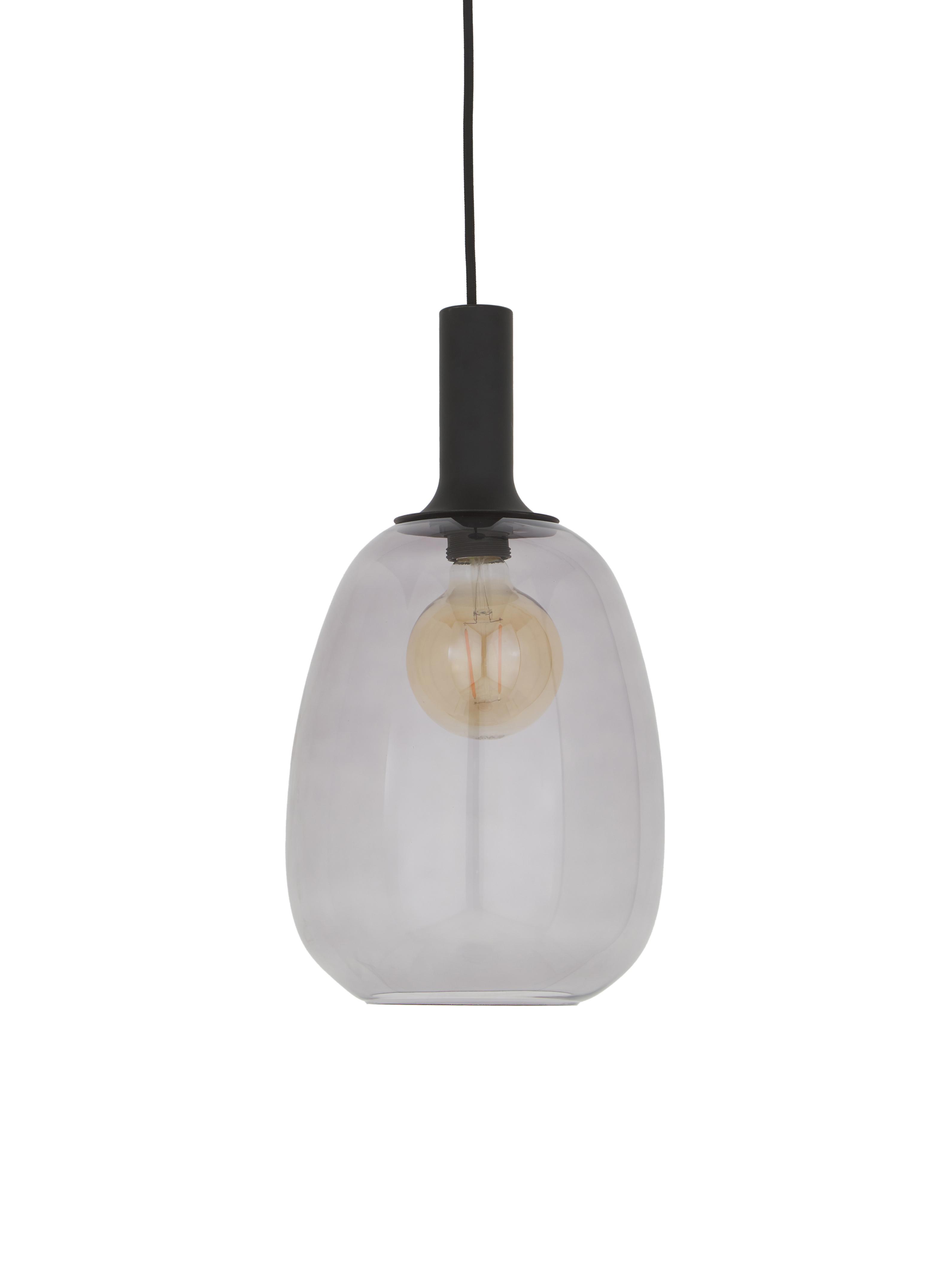 Hanglamp Alton, Lampenkap: glas, Zwart, grijs, transparant, Ø 23 x H 43 cm
