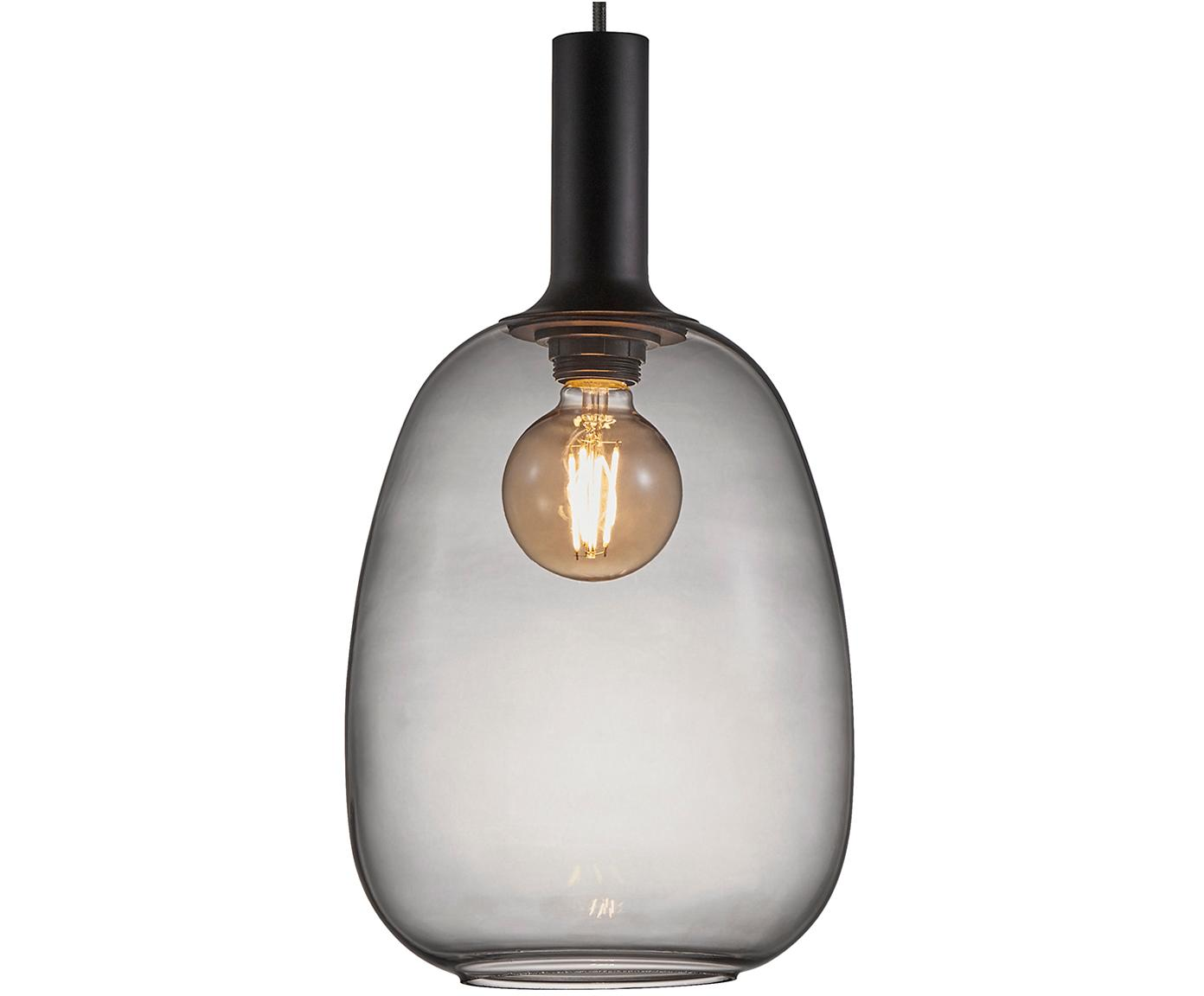 Lámpara de techo pequeña Alton, Pantalla: vidrio, Cable: cubierto en tela, Negro, gris, transparente, Ø 23 x Al 43 cm