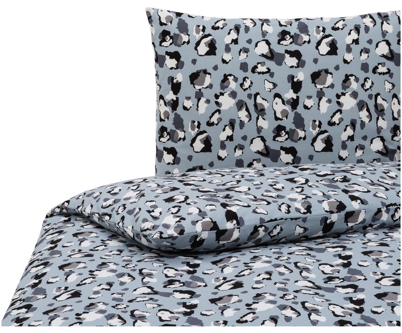 Dekbedovertrek Famke Blue, Katoen, Lichtblauw, wit, grijs, zwart, 140 x 220 cm