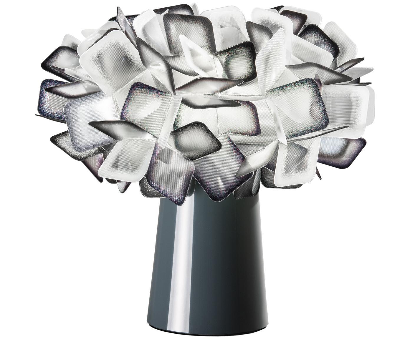 Design tafellamp Clizia, Lampenkap: technopolymeer Lentiflex®, Lampvoet: gecoat staal, Transparant, zwart, Ø 27 x H 25 cm