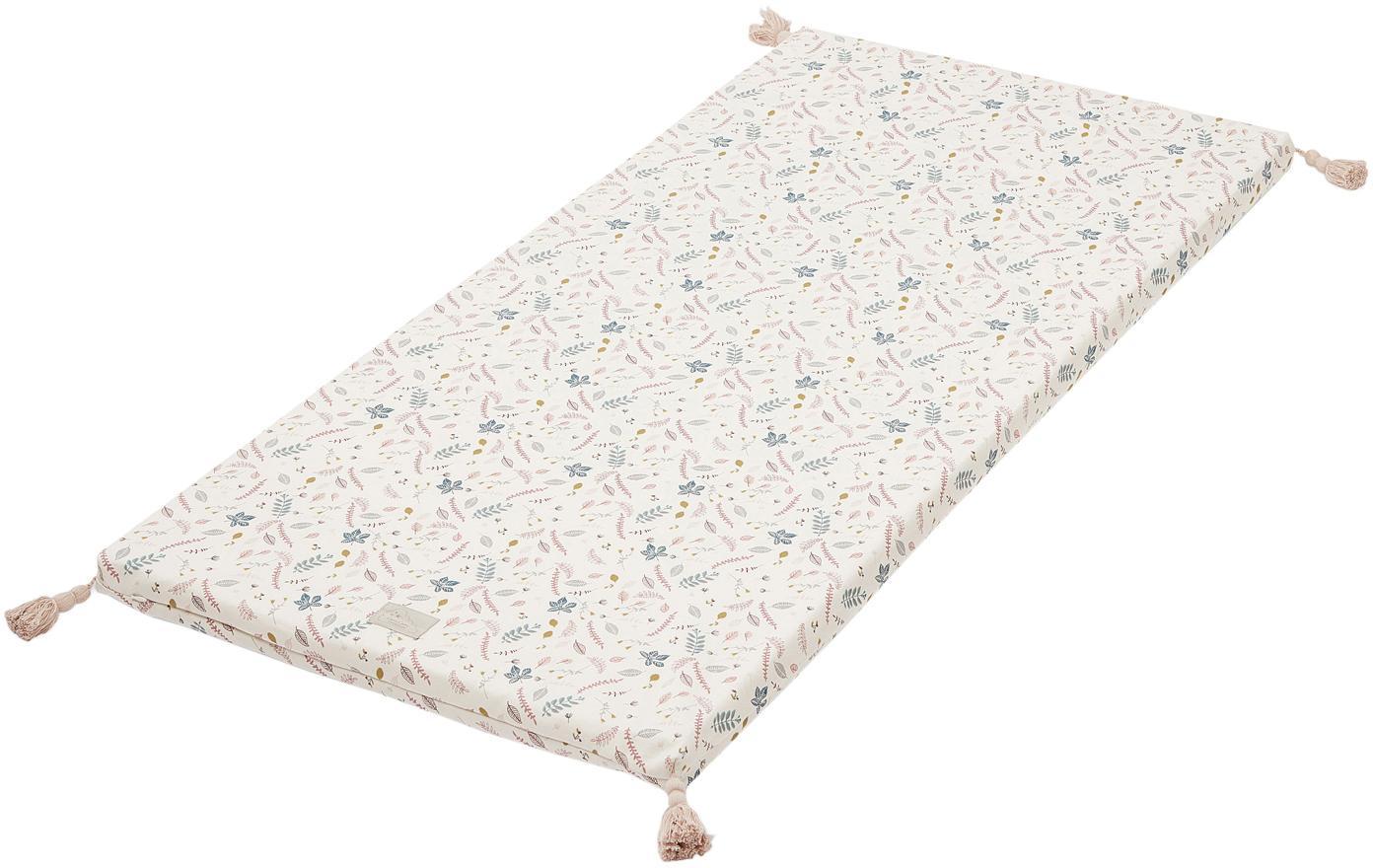 Mata do zabawy z bawełny organicznej Pressed Leaves, Tapicerka: bawełna organiczna, Kremowy, blady różowy, niebieski, szary, żółty, S 60 x D 120 cm