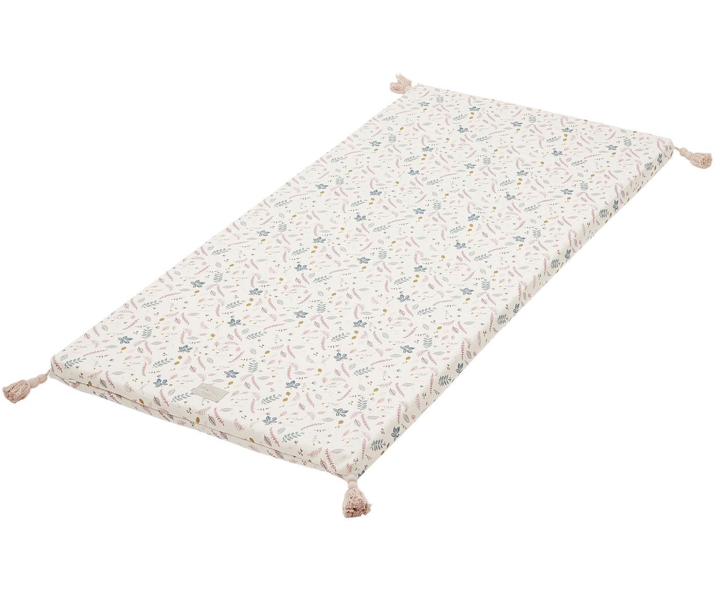 Materassino imbottito  in cotone organico Pressed Leaves, Crema, rosa, blu, grigio, giallo, Larg. 60 x Lung. 120 cm