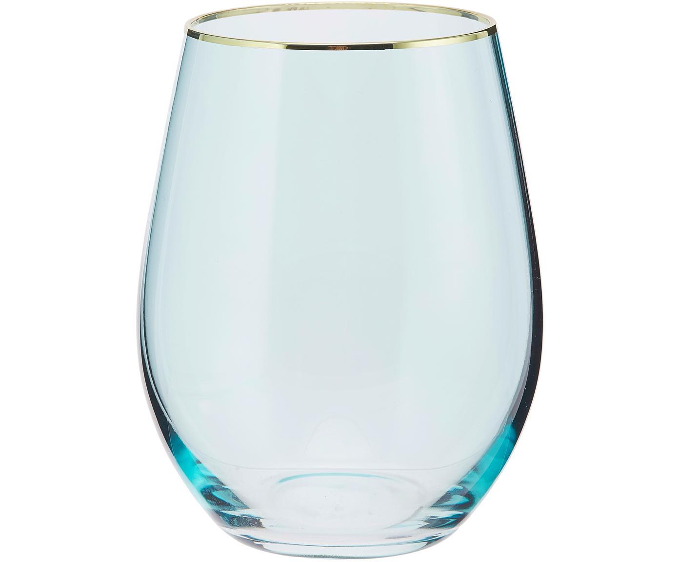 Wassergläser Chloe in Blau mit Goldrand, 4er-Set, Glas, Hellblau, Goldfarben, Ø 9 x H 12 cm