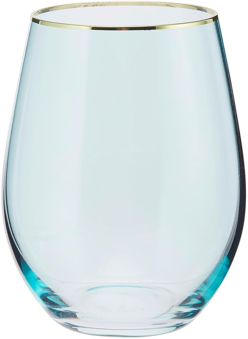 Vasos altos Chloe, 4uds., Vidrio, Azul claro, dorado, Ø 10 x Al 15 cm