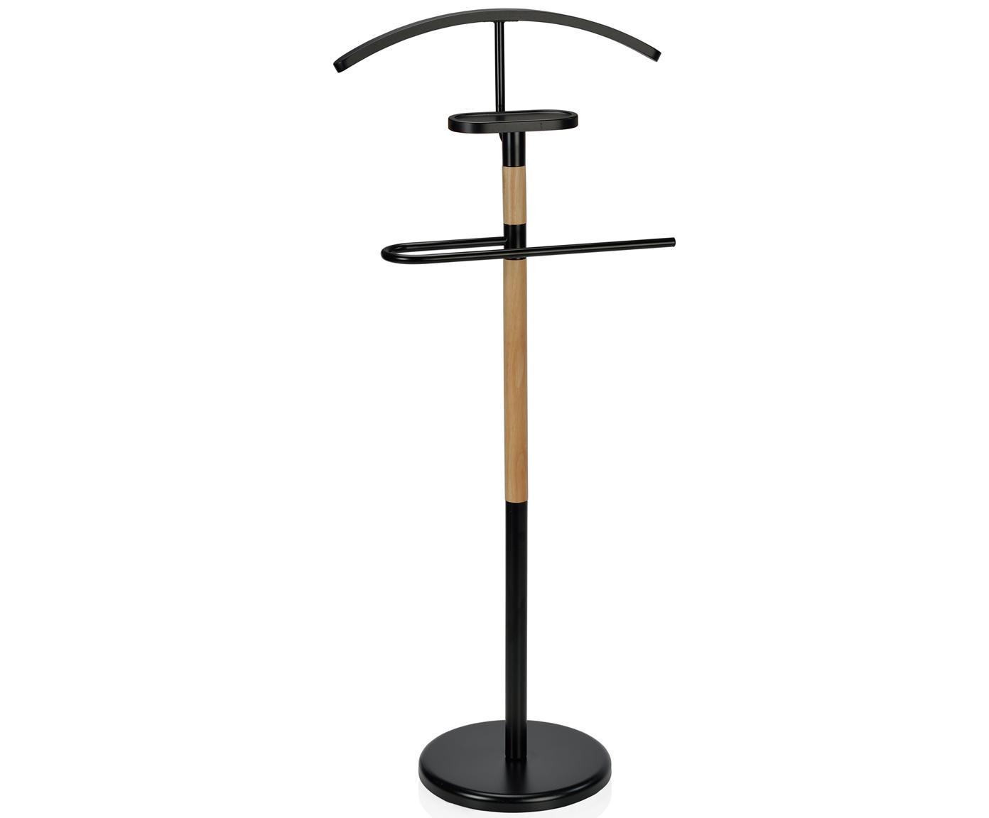 Wieszak stojący Esteban, Stal, drewno kauczukowe, Czarny, brązowy, W 114 cm