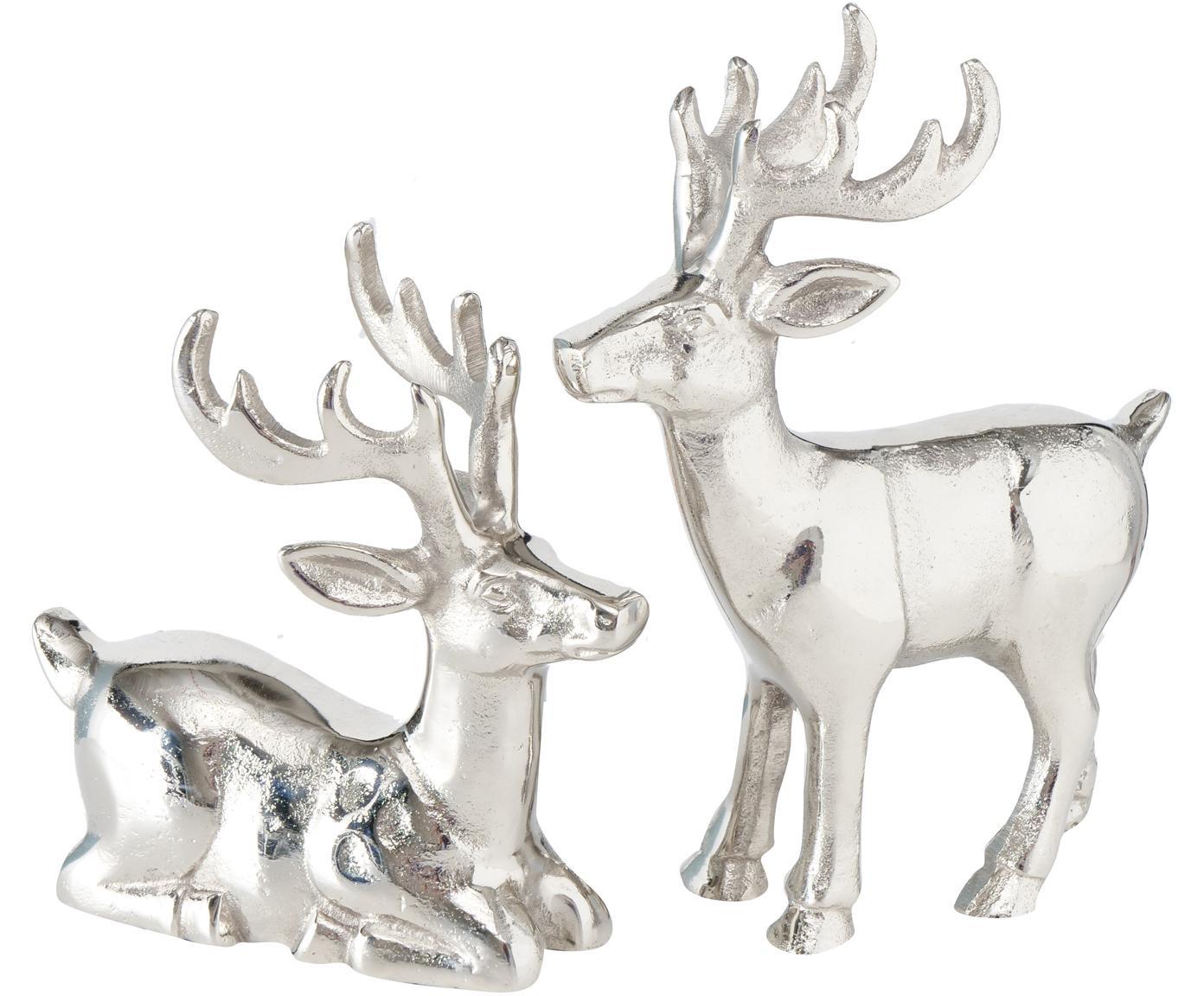 Set de figuras decorativas Tuxel, 2pzas., Aluminio niquelado, Níquel, Set de diferentes tamaños