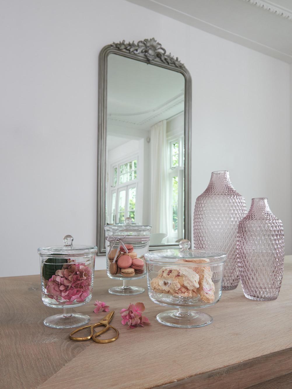 Ręcznie wykonany pojemnik do przechowywania Poesia, Szklanka, Transparentny, Ø 15 x W 24 cm