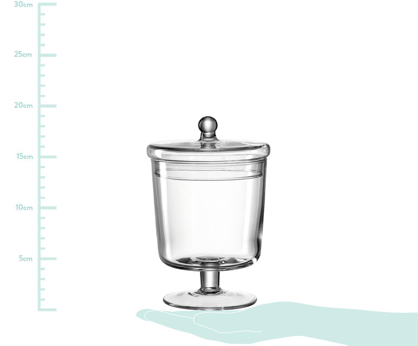 Handgefertigte Aufbewahrungsdose Poesia, Glas, Transparent, Ø 15 x H 24 cm