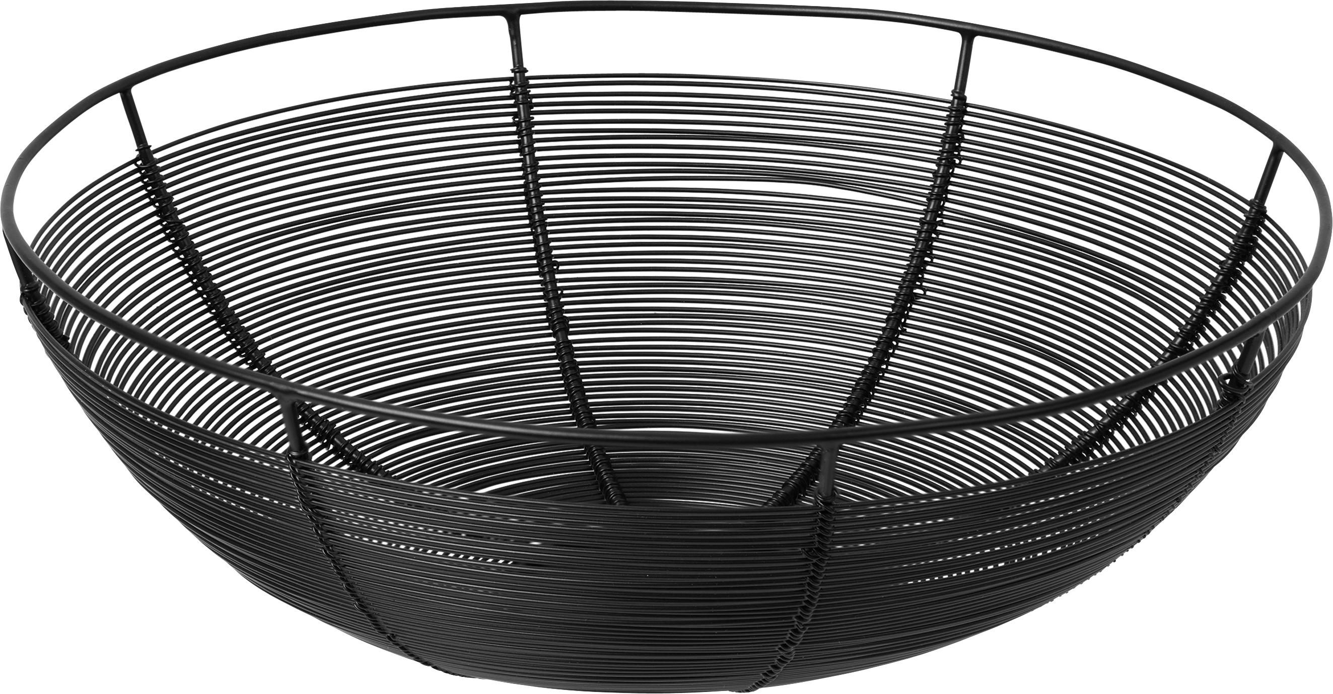 Cestino per pane Nina, Metallo verniciato, Nero, Ø 30 x Alt. 10 cm