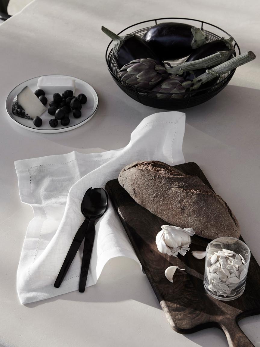 Brotkorb Nina in Schwarz, Metall, lackiert, Schwarz, Ø 30 x H 10 cm