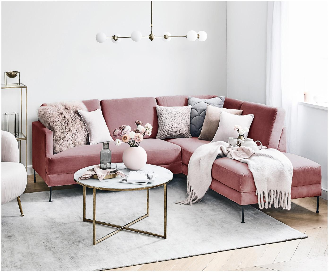 Fluwelen hoekbank Fluente, Bekleding: fluweel (hoogwaardig poly, Frame: massief grenenhout, Poten: gelakt metaal, Roze, B 221 x D 200 cm
