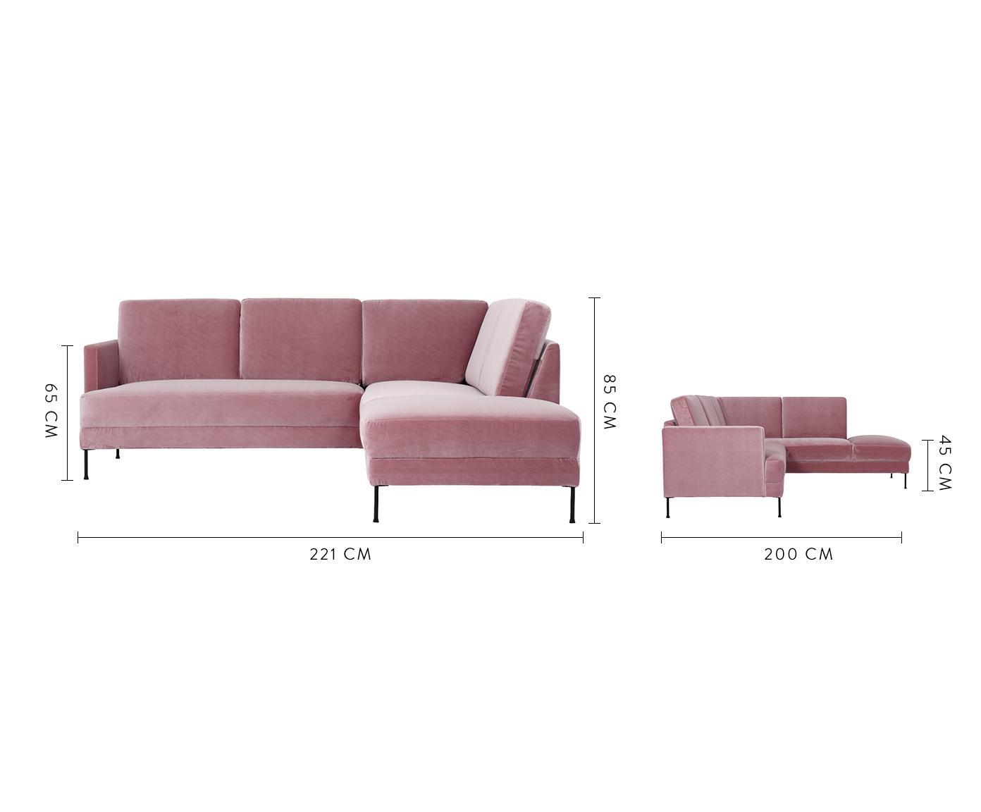 Divano angolare in velluto rosa Fluente, Rivestimento: velluto (copertura in pol, Struttura: legno di pino massiccio, Piedini: metallo verniciato, Velluto rosa, Larg. 221 x Prof. 200 cm
