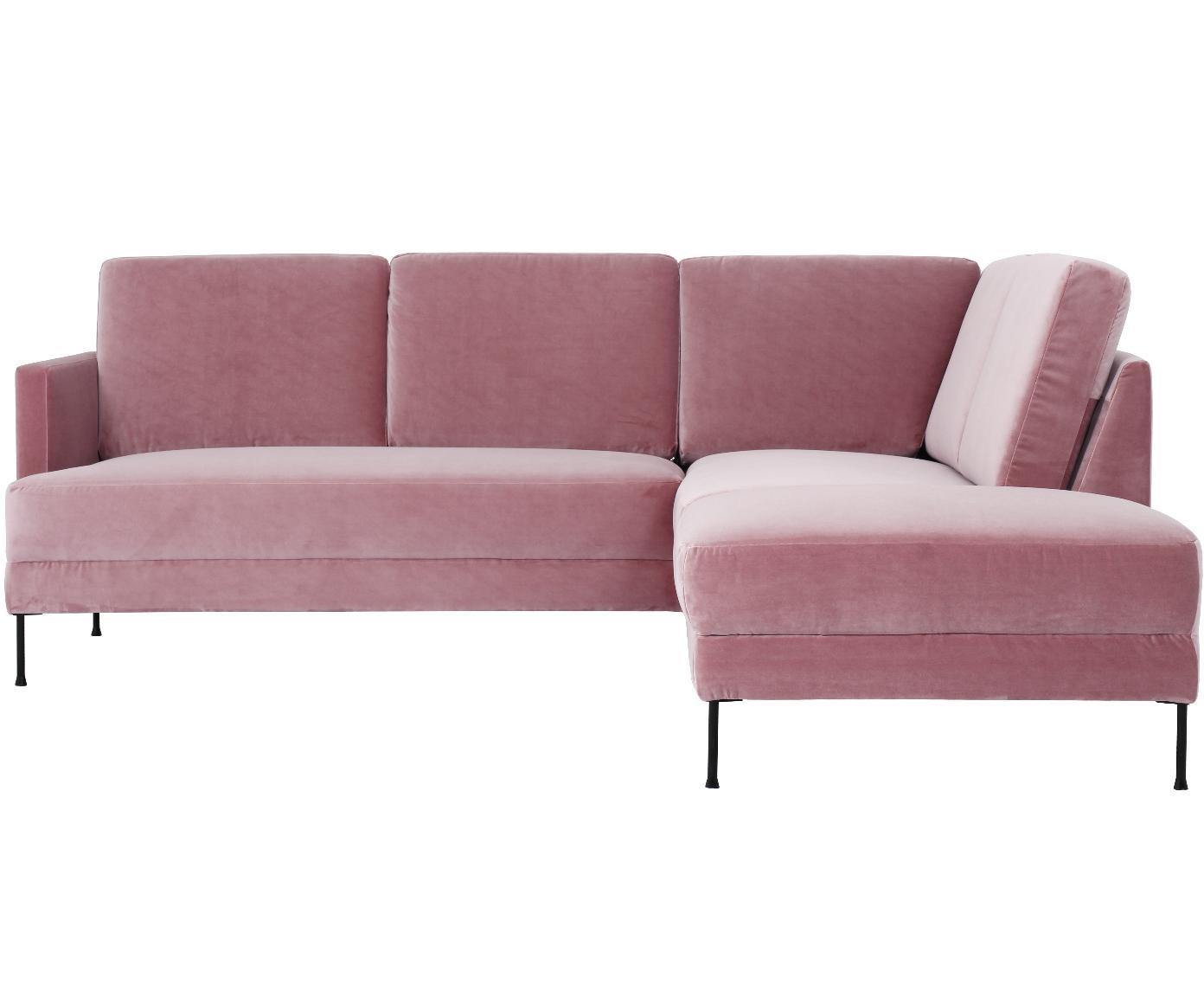 Sofa narożna z aksamitu Fluente, Tapicerka: aksamit (wysokiej jakości, Stelaż: lite drewno sosnowe, Nogi: metal lakierowany, Aksamitny blady różowy, S 221 x G 200 cm