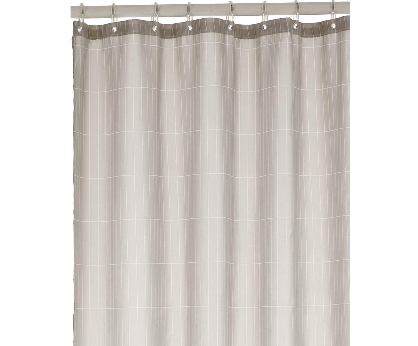 Tenda da doccia a quadri Tiles, Grigio chiaro, Larg. 180 x Lung. 200 cm