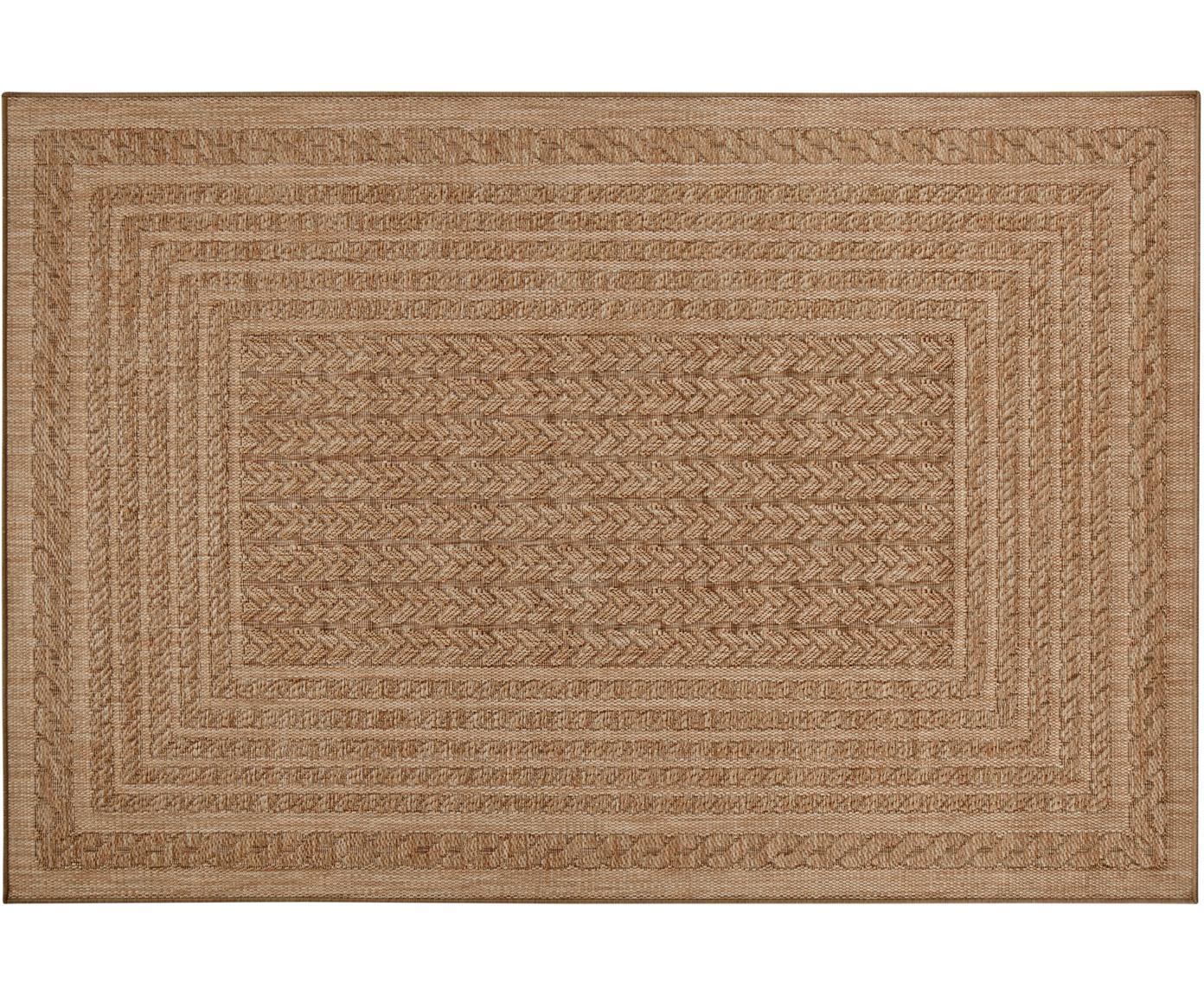 In- en outdoor vloerkleed Limonero in juten look, Polypropyleen, Beige, bruin, B 120 x L 170 cm (maat S)