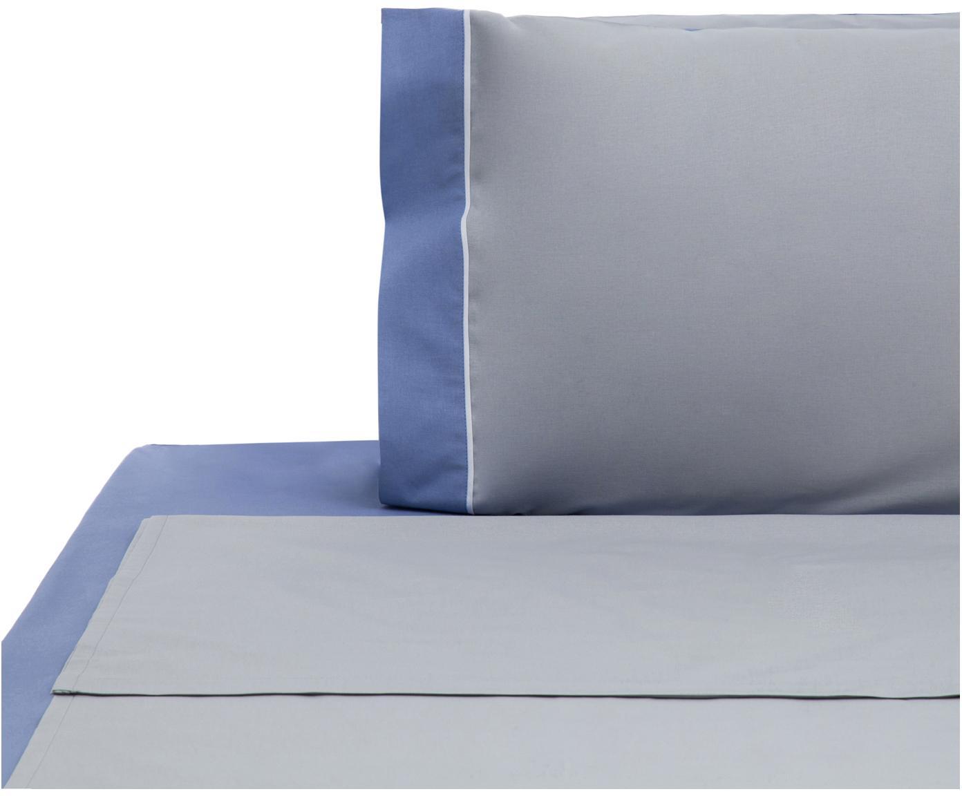 Set lenzuola in cotone ranforce Tinta Unita 3 pz, Tessuto: Renforcé, Grigio, bianco, blu, 150 x 290 cm