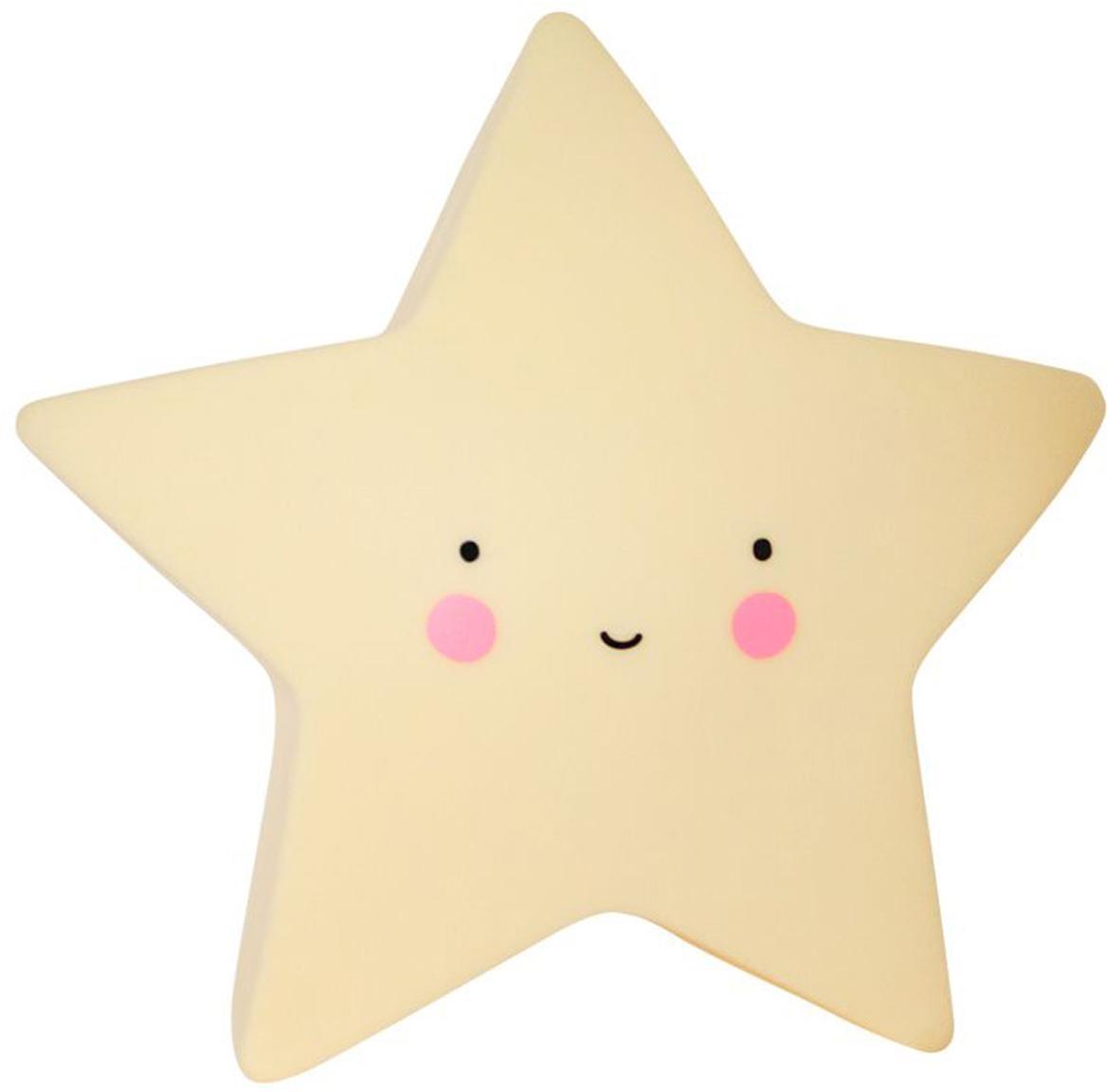 Klein LED lichtobject Star met timer, Kunststof, Geel, zwart, roze, 14 x 14 cm