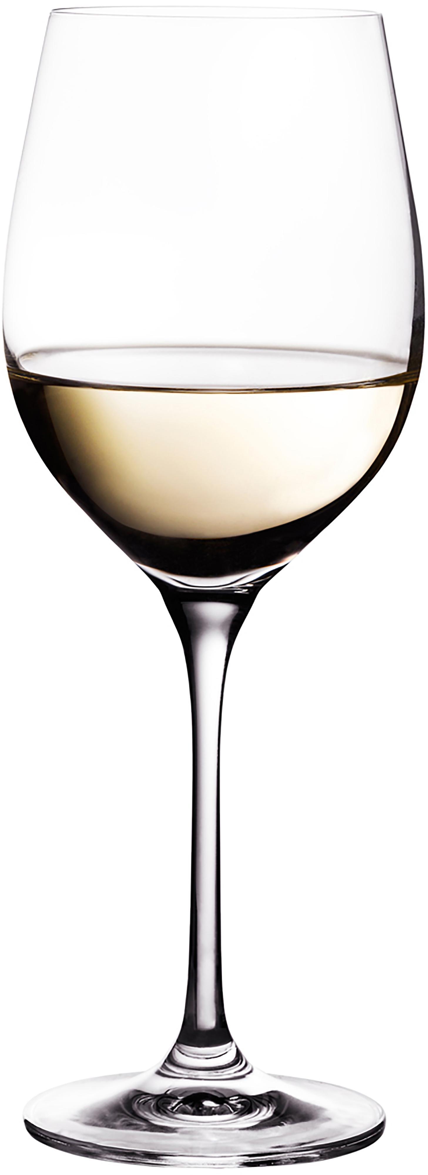 Weißweingläser Harmony aus glattem Kristallglas, 6er-Set, Edelster Glanz – das Kristallglas bricht einfallendes Licht besonders stark. So entsteht ein märchenhaftes Funkeln, das jede Weinverkostung zu einem ganz besonderen Erlebnis macht., Transparent, 390 ml