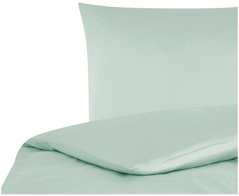 Parure copripiumino in raso di cotone Comfort, Verde salvia, 155 x 200 cm