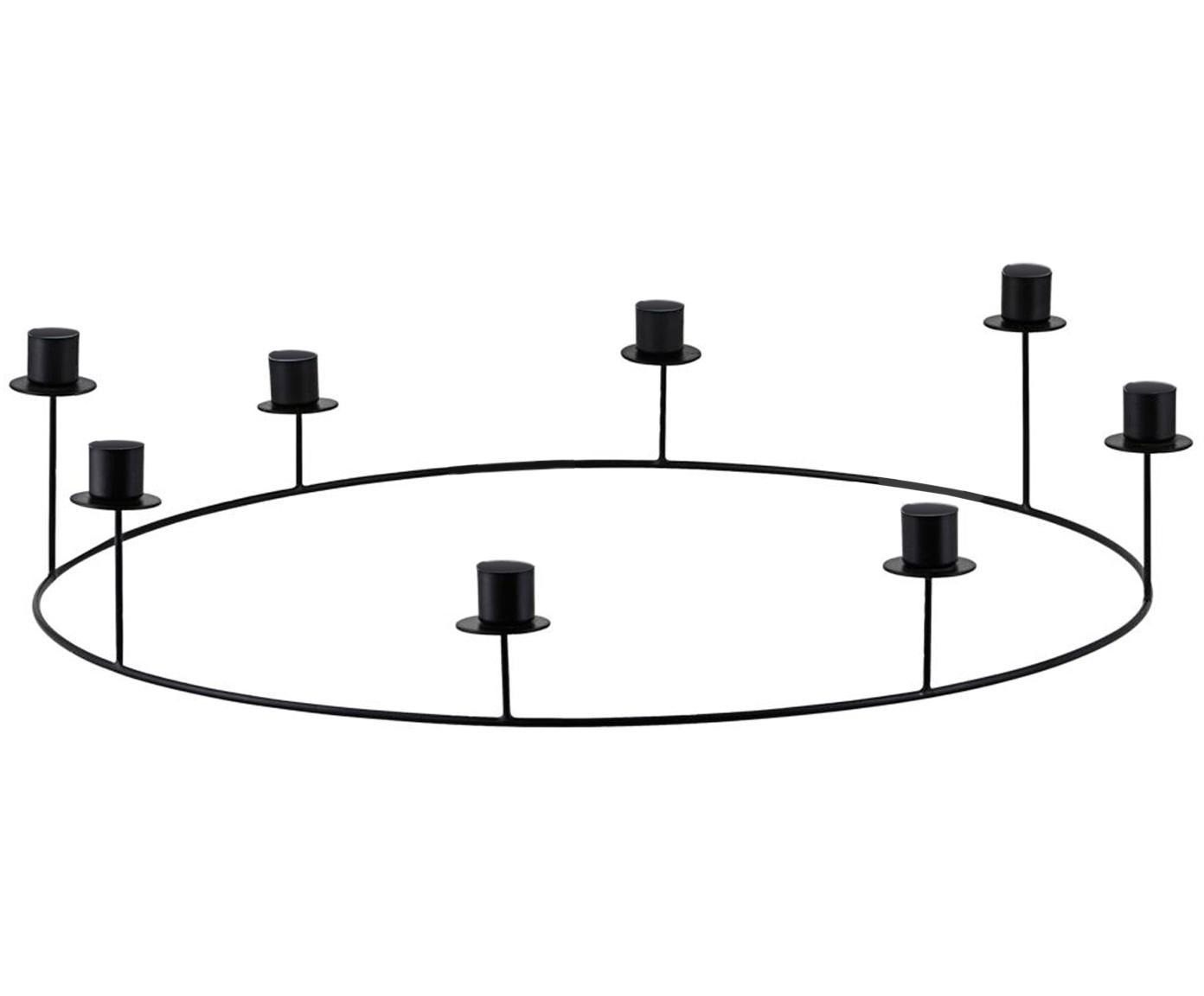 Świecznik Stilu, Metal powlekany, Czarny, Ø 50 x W 12 cm