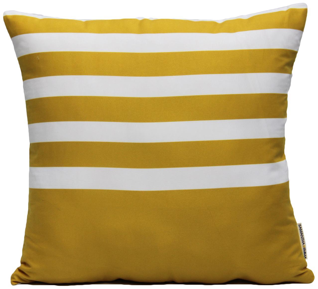 Federa arredo a righe Ela, Poliestere, Bianco, giallo, Larg. 40 x Lung. 40 cm