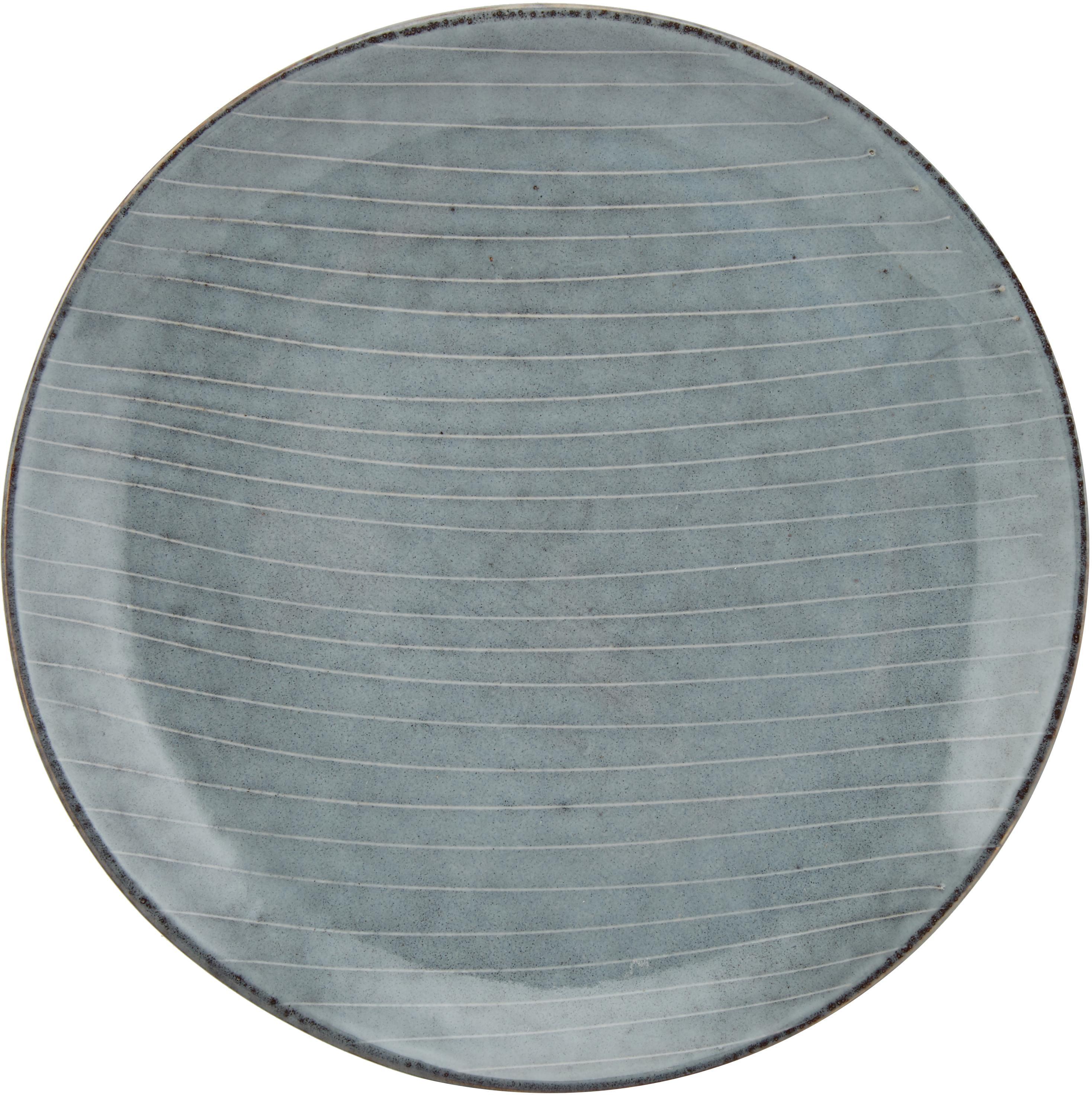Ręcznie wykonany talerz śniadaniowy z kamionki Nordic Sea, 4 szt., Kamionka, Szary i odcienie niebieskiego, Ø 20 x W 3 cm