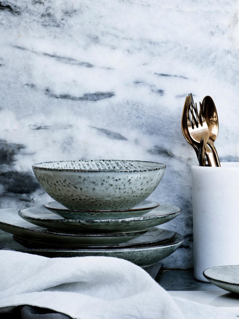 Piattino da dessert fatto a mano Nordic Sea 4 pz, Terracotta, Grigio e tonalità blu, Ø 20 x Alt. 3 cm