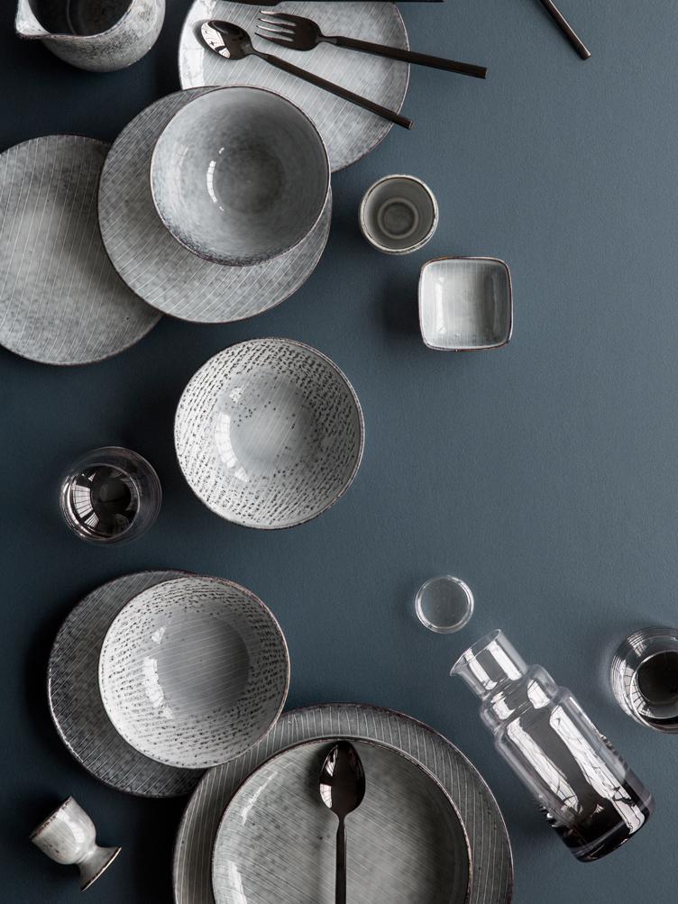 Handgemachte Frühstücksteller Nordic Sea aus Steingut, 4 Stück, Steingut, Grau- und Blautöne, Ø 20 x H 3 cm