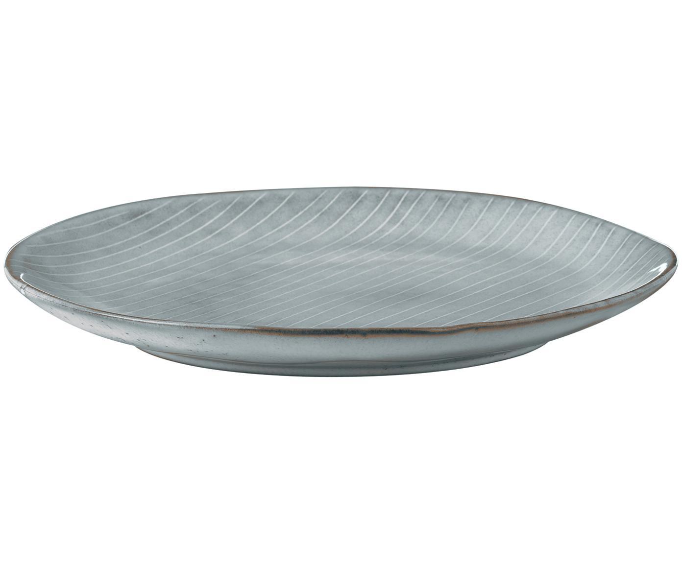 Handgemachte Frühstücksteller Nordic Sea, 4 Stück, Steingut, Grau- und Blautöne, Ø 20 x H 3 cm