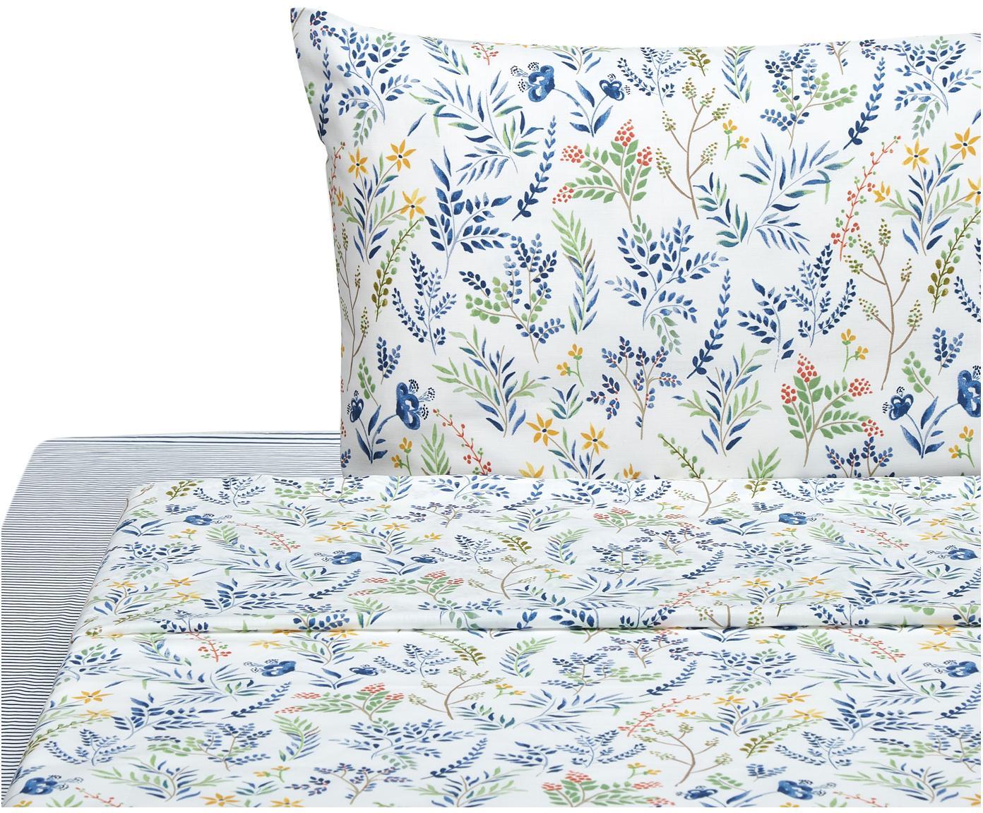 Completo letto Springfield, Cotone, Bianco, blu, multicolore, 150 x 280 cm
