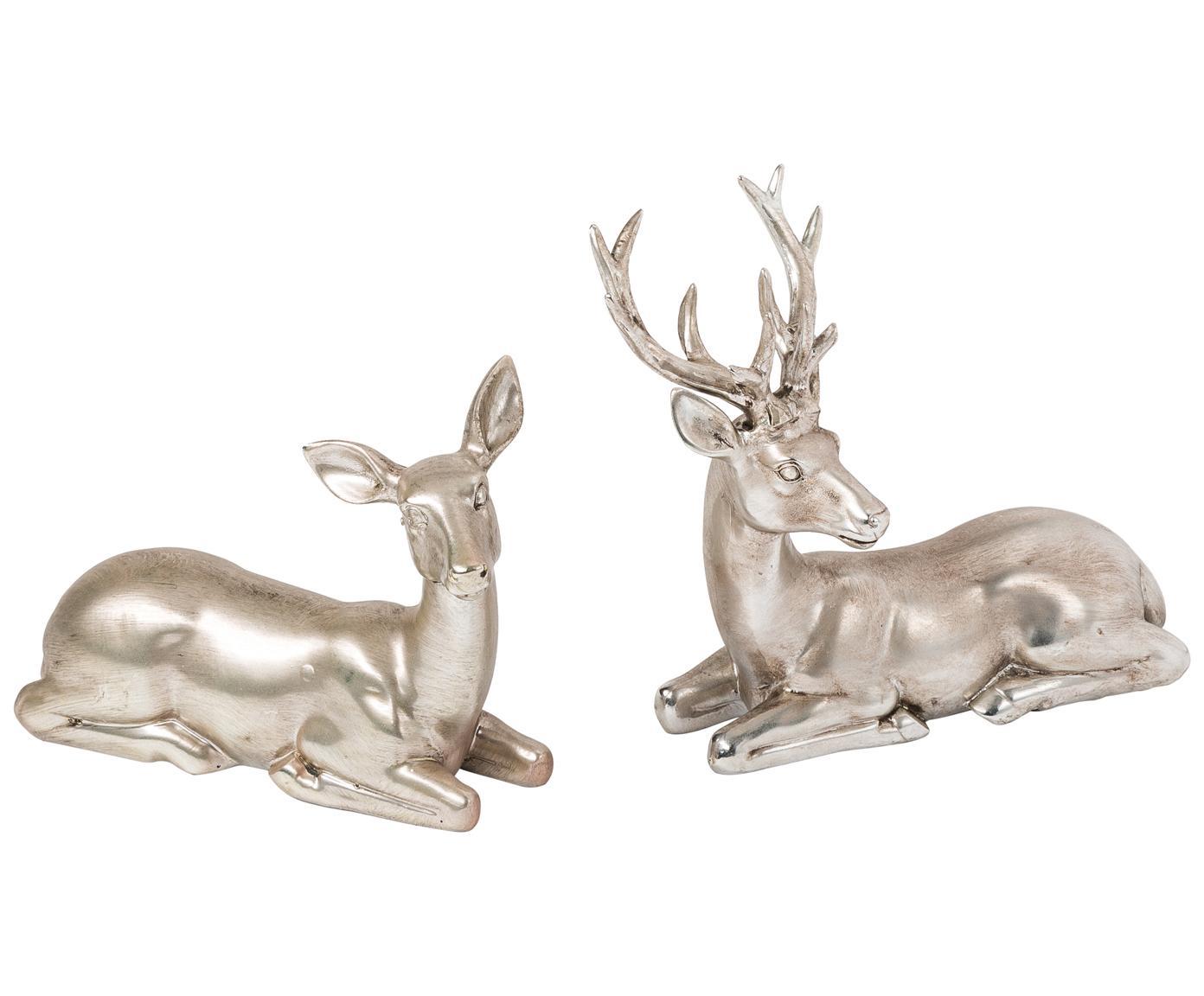 Deko-Hirsch-Set Silver Forrest, 2-tlg., Kunstharz, Silberfarben, Antik-Finish, 15 x 15 cm