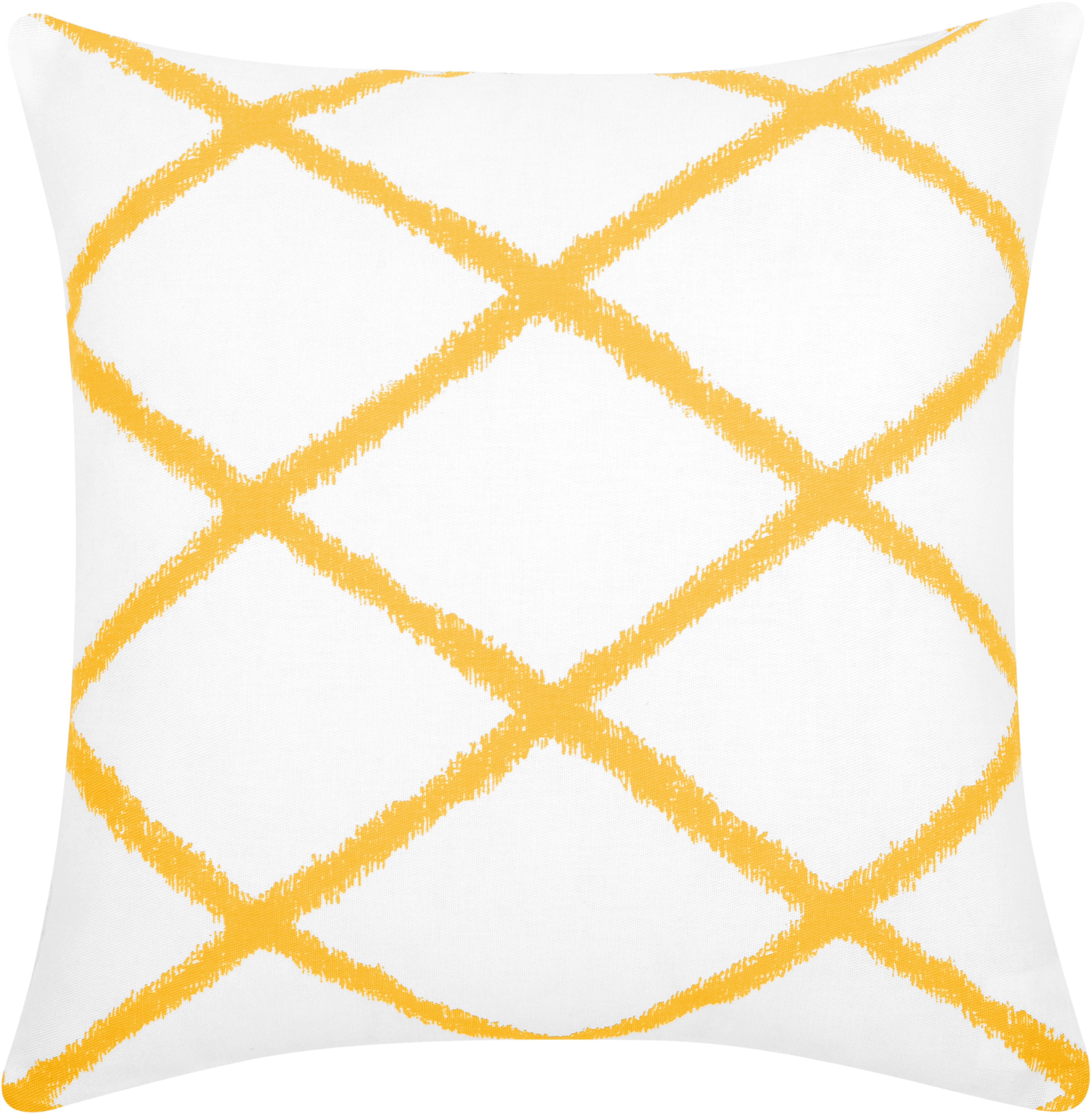 Kissenhülle Laila mit Rautenmuster, Baumwolle, Weiß, Gelb, 45 x 45 cm