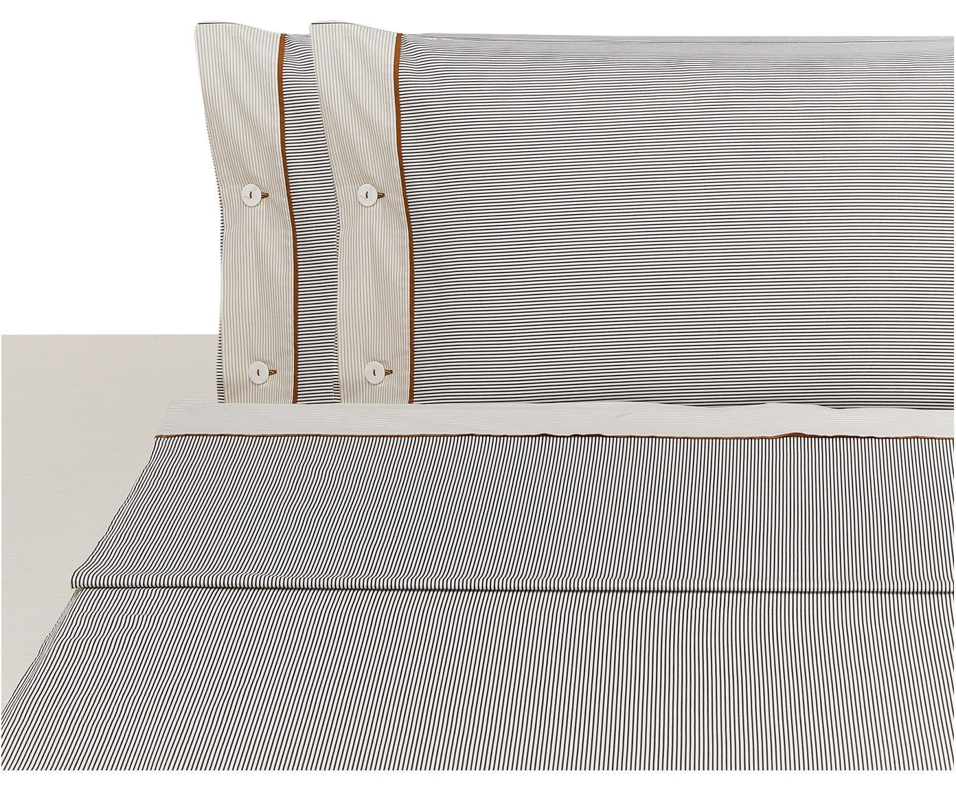 Set lenzuola in cotone Polsino 4 pz, Bianco, marrone, beige, 260 x 295 cm