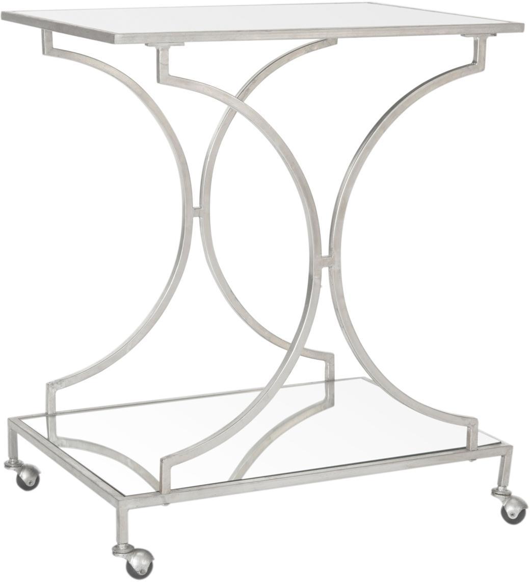 Metalen barcart Caleb, Frame: ijzer, Zilverkleurig, 66 x 79 cm