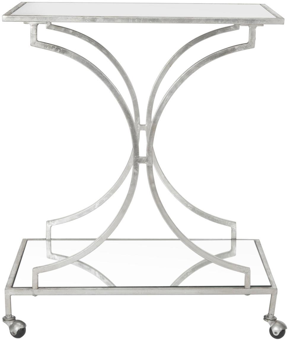 Metall-Servierwagen Caleb, Gestell: Eisen, Ablage oben und unten: Spiegelglas, Silberfarben, 66 x 79 cm
