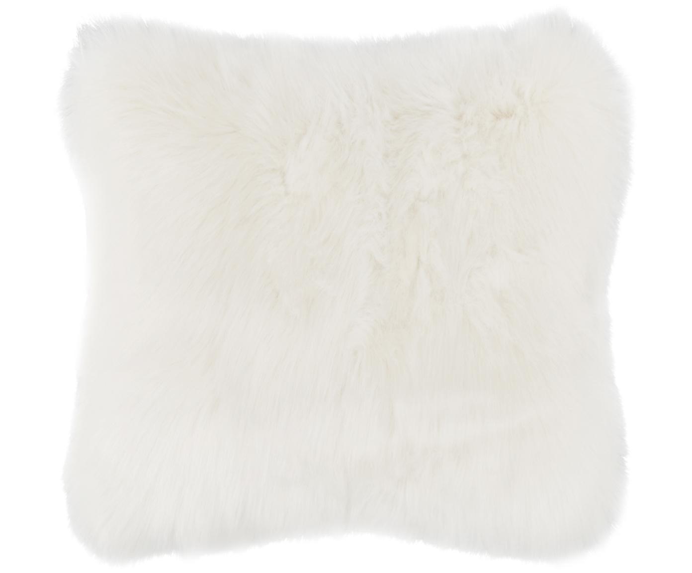 Flauschige Kunstfell-Kissenhülle Mathilde, glatt, Vorderseite: 67% Acryl, 33% Polyester, Rückseite: 100% Polyester, Creme, 40 x 40 cm
