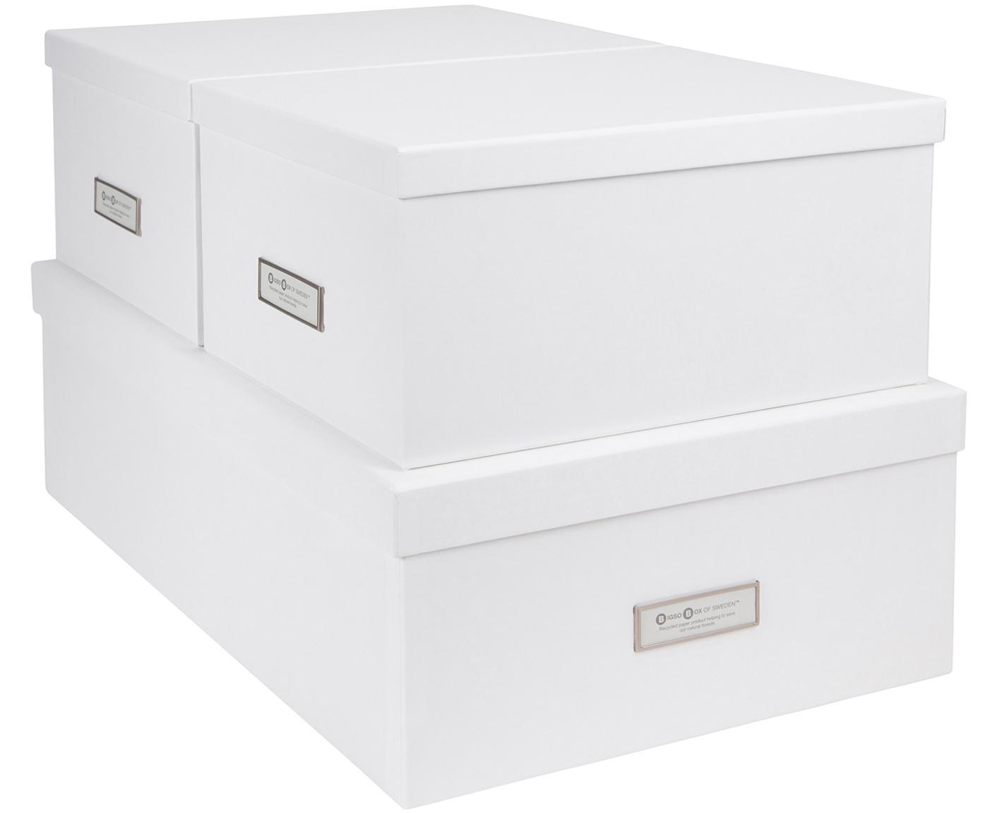 Aufbewahrungsboxen-Set Inge, 3-tlg., Box: Fester, laminierter Karto, Box aussen: WeissBox innen: Weiss, Verschiedene Grössen