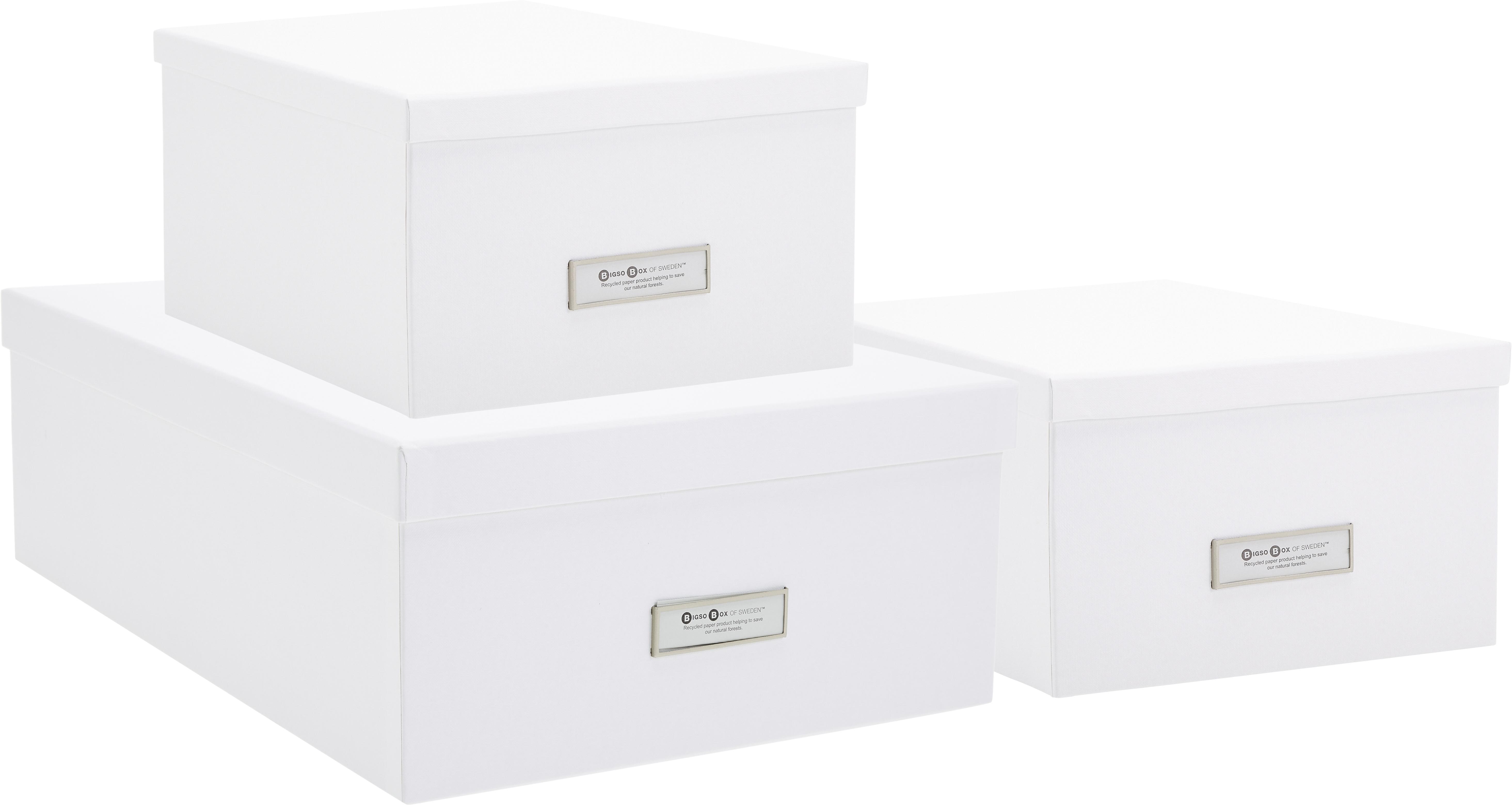 Set 3 scatole Inge, Scatola: solido, cartone laminato, Scatola esterno: bianco Scatola interno: bianco, Diverse dimensioni