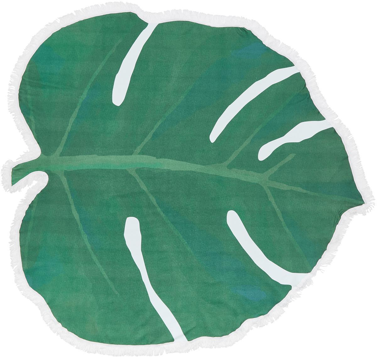 Strandtuch Leaves in Blattform, 55% Polyester, 45% Baumwolle Sehr leichte Qualität 340 g/m², Grün, Weiss, 139 x 150 cm