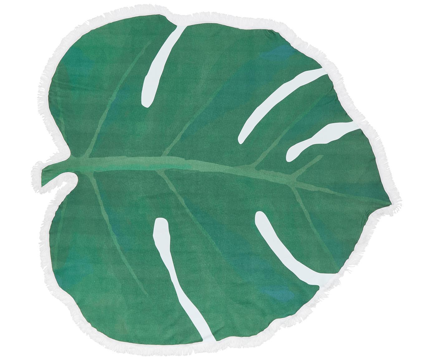 Strandtuch Leaves in Blattform, 55% Polyester, 45% Baumwolle Sehr leichte Qualität 340 g/m², Grün, Weiß, 139 x 150 cm