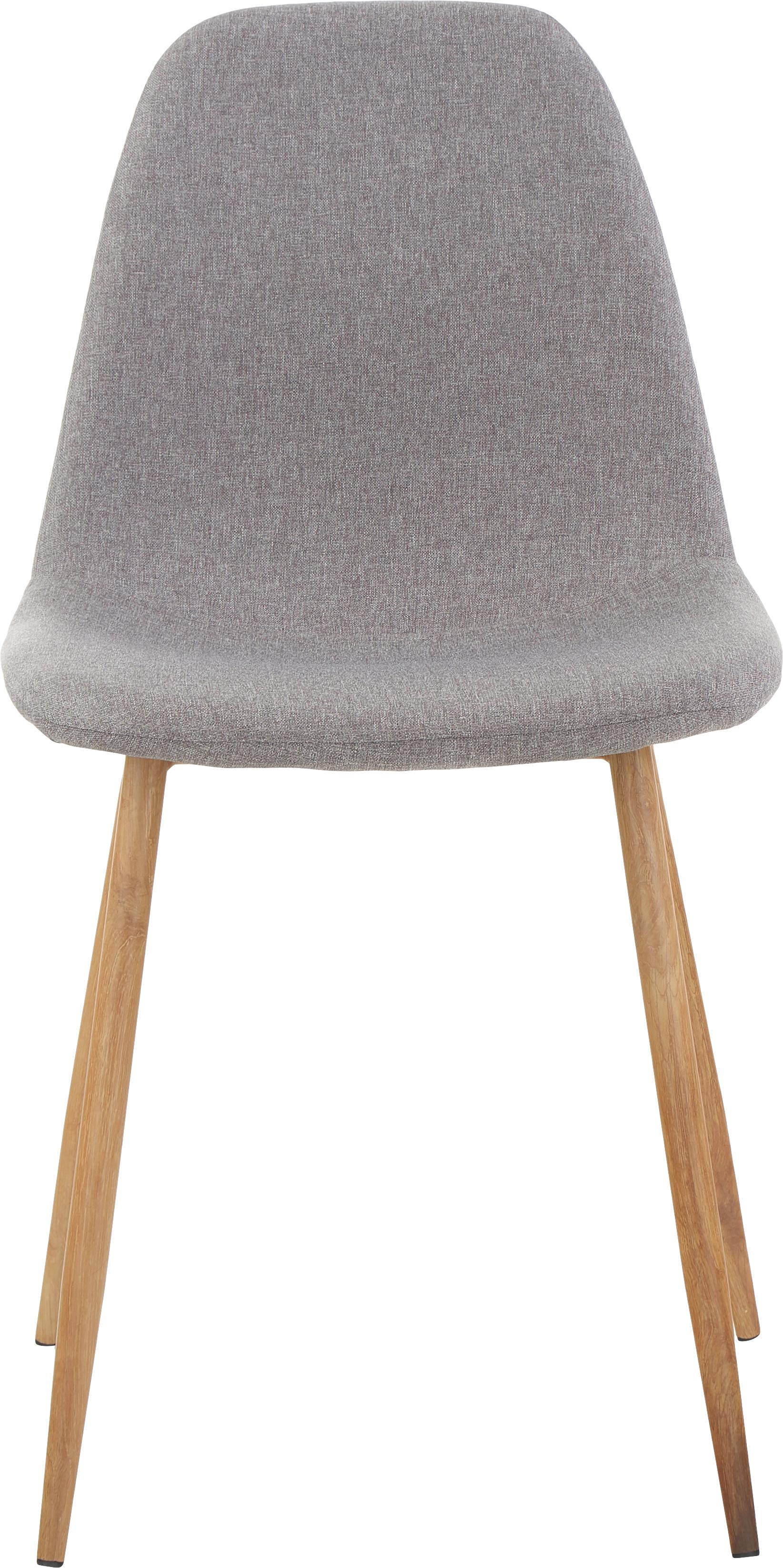Polsterstühle Wilma, 2 Stück, Beine: Metall mit Eichedekor, Bezug: Polyester, Webstoff Hellgrau, Beine Eiche, B 45 x T 56 cm