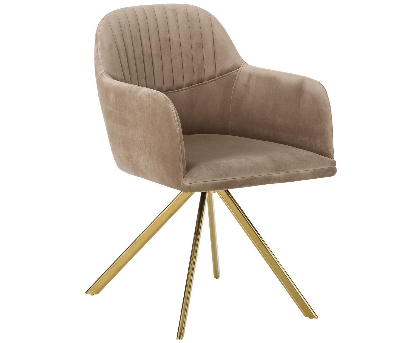 Krzesło obrotowe z aksamitu Lola, Tapicerka: aksamit (100% poliester) , Nogi: metal galwanizowany, Aksamitny jasny brązowy, nogi złoty, S 55 x G 52 cm