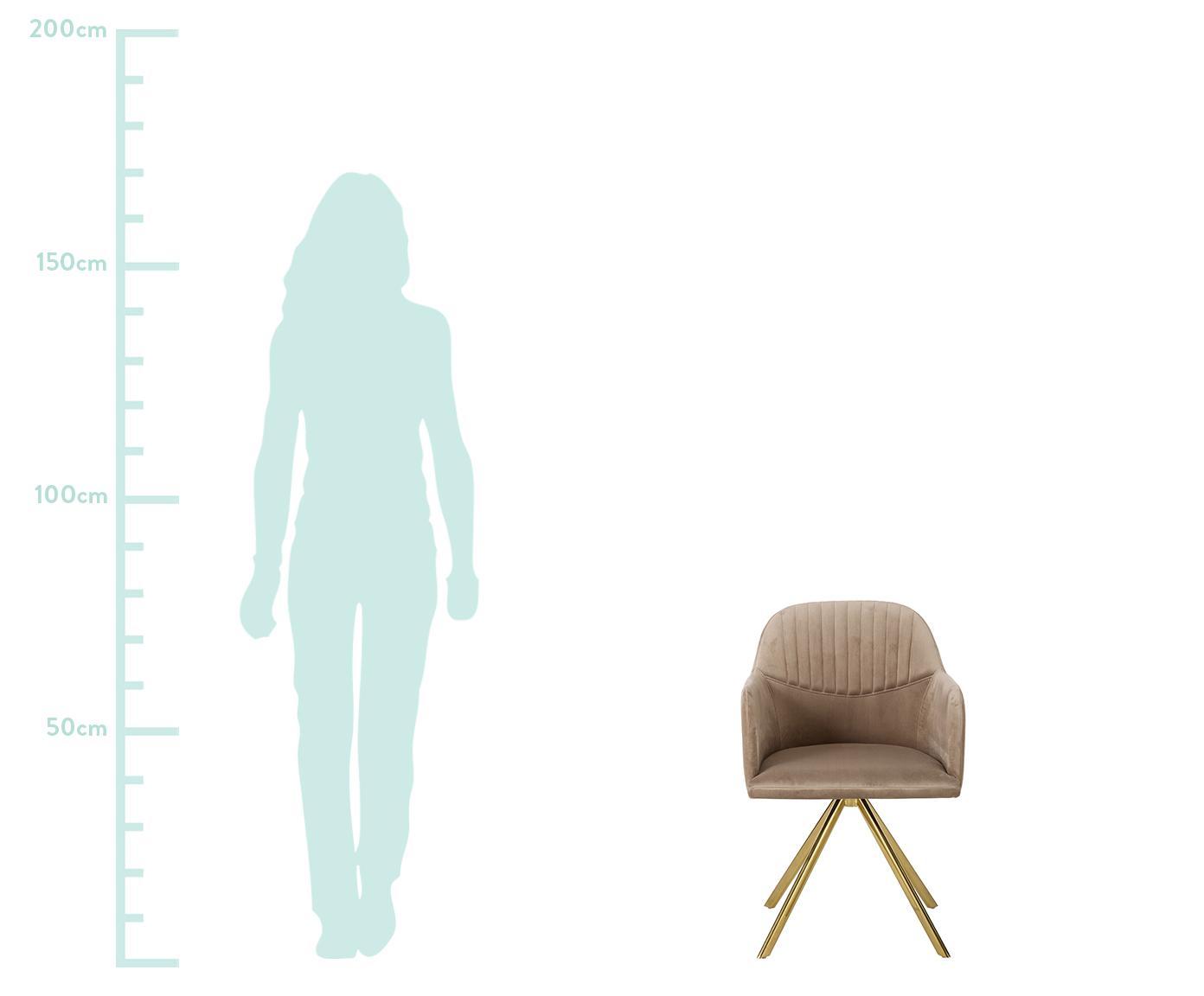 Samt-Drehstuhl Lola mit Armlehne, Bezug: Samt (100% Polyester) 50., Beine: Metall, galvanisiert, Samt Hellbraun, Beine Gold, B 55 x T 52 cm