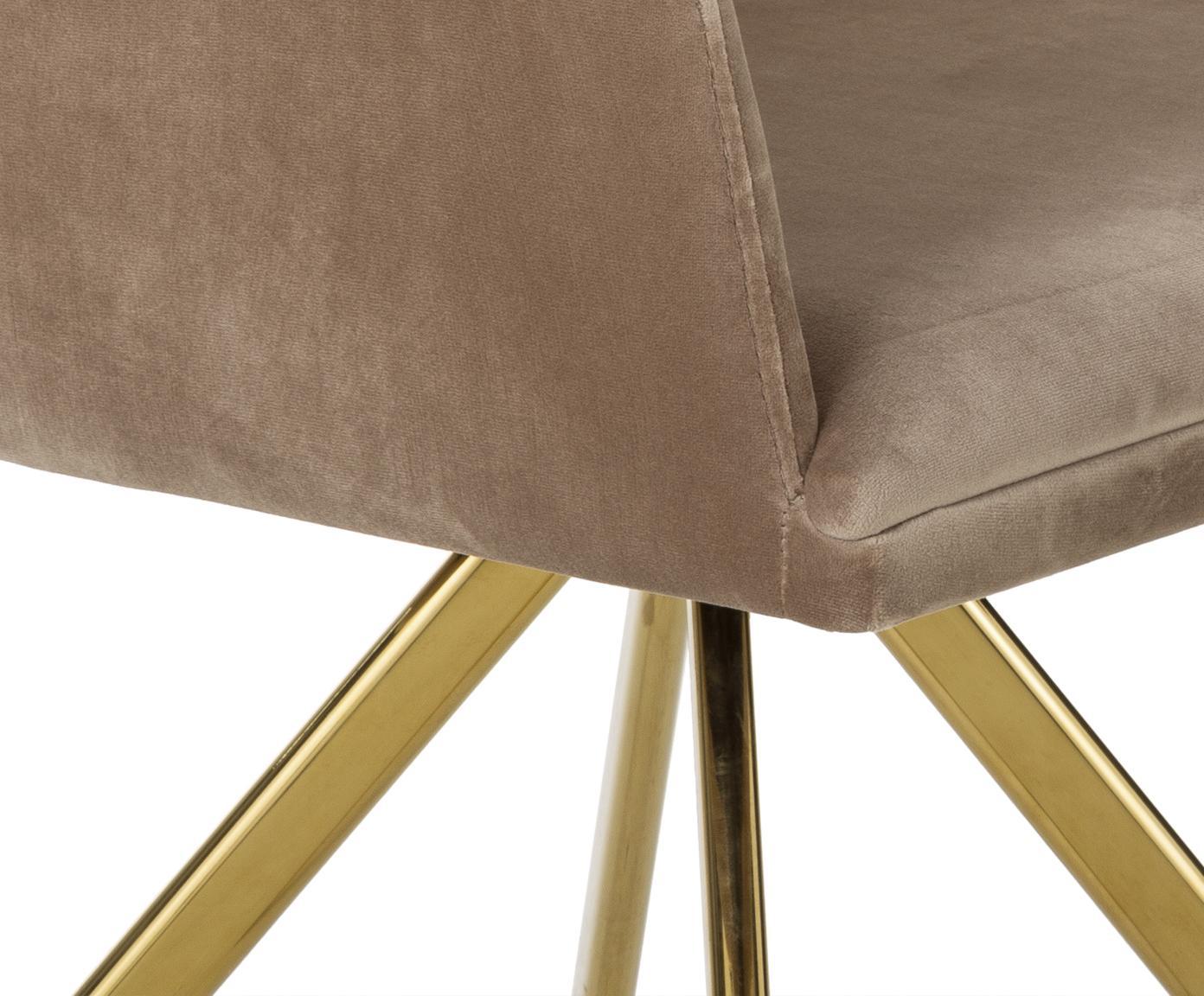 Fluwelen draaistoel Lola met armleuning, Bekleding: fluweel (100% polyester), Poten: gegalvaniseerd metaal, Fluweel lichtbruin, poten goudkleurig, B 55 x D 52 cm