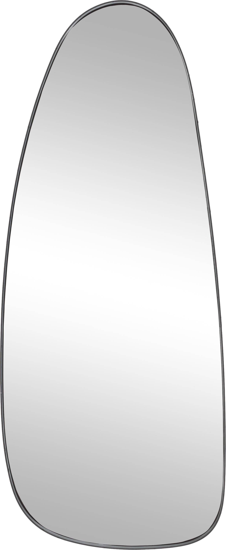 Ovale wandspiegel Codoll met zwarte metalen lijst, Frame: gelakt metaal, Lijst: zwart. Spiegelvlak: spiegelglas, 39 x 95 cm