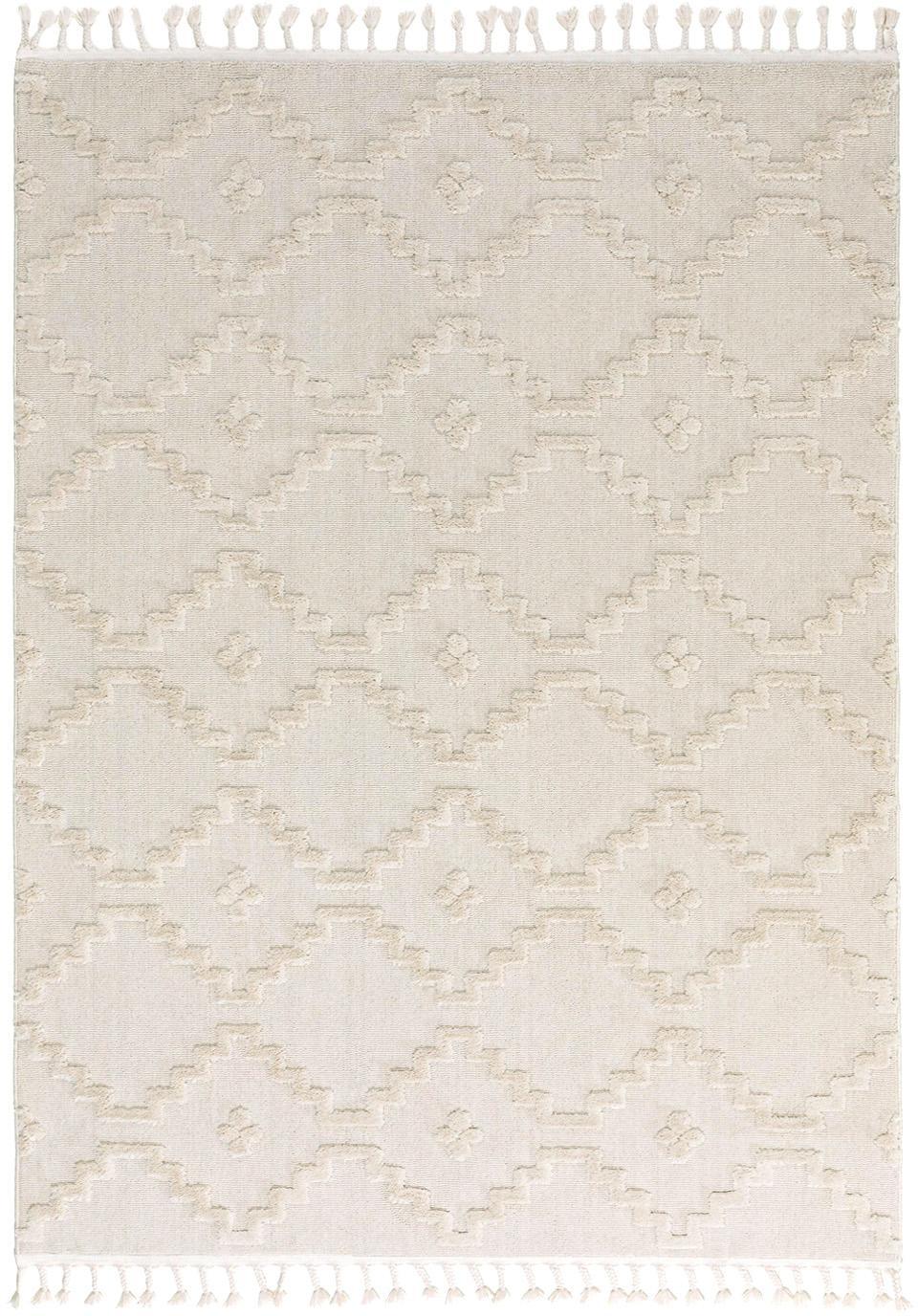 Teppich Oyo in Creme mit Reliefoptik, Flor: Polyester, Creme, B 160 x L 230 cm (Größe M)