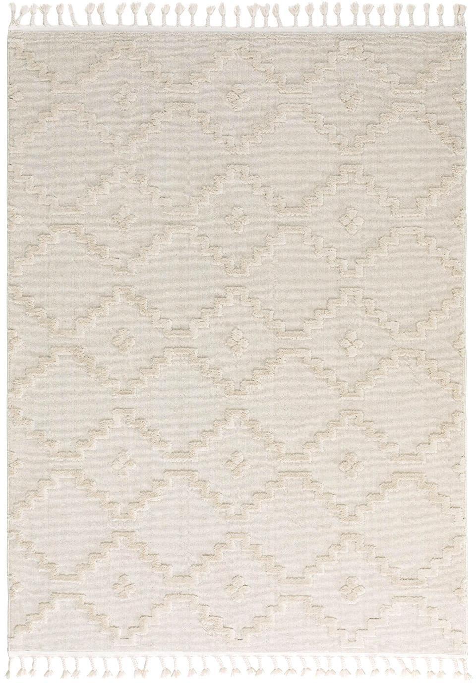 Teppich Oyo in Creme mit Hoch-Tiefmuster im Boho Stil, Flor: Polyester, Creme, B 160 x L 230 cm (Größe M)
